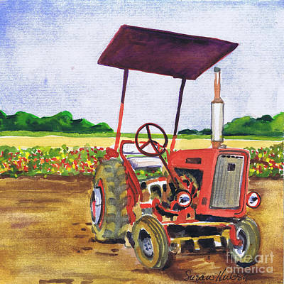 Poster featuring the painting Red Tractor At Rottcamp's Farm by Susan Herbst