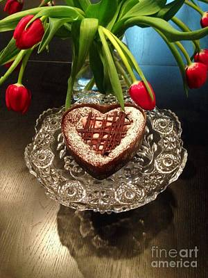 Red Tulip And Chocolate Heart Dessert Poster