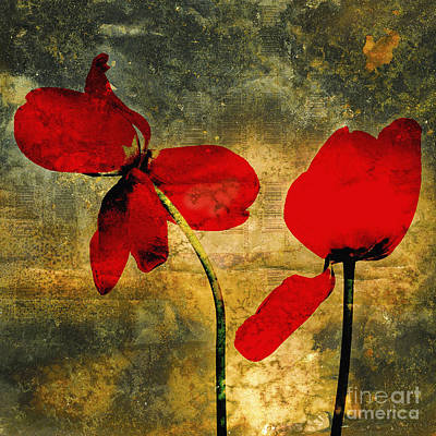 Red Tulips On A Textured Background Poster by Bernard Jaubert