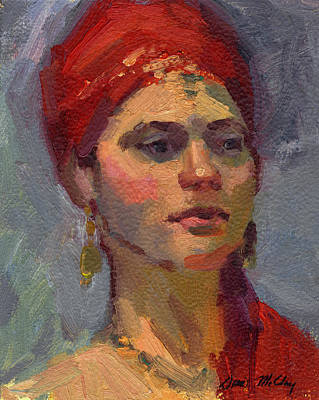 Red Turban Poster by Diane McClary