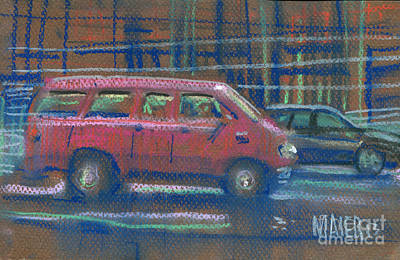 Poster featuring the painting Red Van by Donald Maier