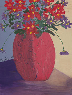Red Vase Of Flowers Poster by Kate Farrant