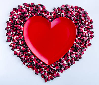 Red Velvet Candy Corn Heart Poster by Teri Virbickis