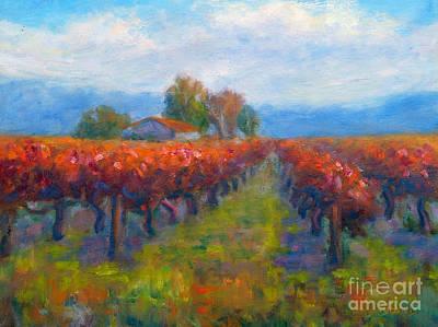 Red Vineyard Poster by Carolyn Jarvis
