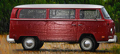 Red Volkswagon Microbus Poster
