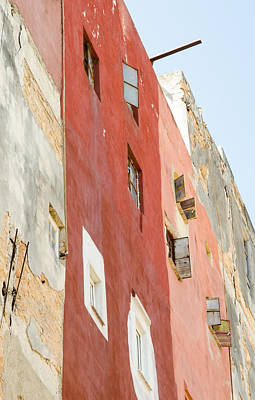 Red Wall In Havana Cuba Poster