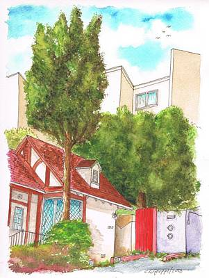 Red Wall With Two Trees In Hern Ave - Hollywood Hills - Los Angeles - California Poster
