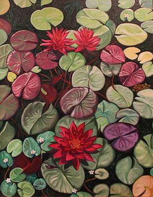 Red Water Lilies Poster