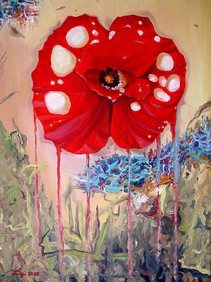 Poster featuring the painting Red Weed Red Poppy by Daniel Janda