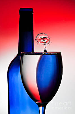 Red White And Blue Reflections And Refractions Poster by Susan Candelario