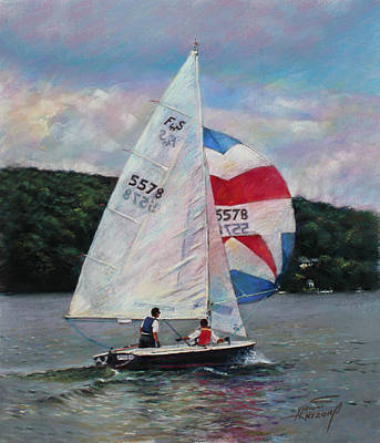 Poster featuring the drawing Red White And Blue Sailboat by Viola El