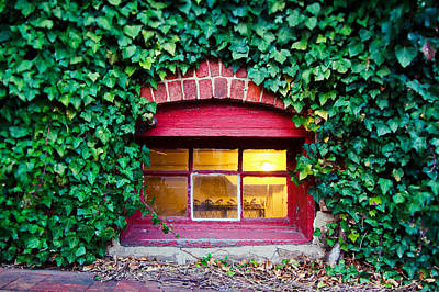 Red Window At The Ivy Corner Black Mountain Nc Poster by Mela Luna