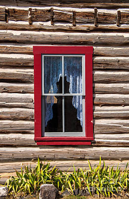 Red Window Log Cabin - Idaho Poster by Gary Whitton