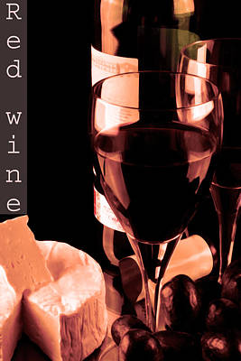 Red Wine And Glass Poster by Tommytechno Sweden
