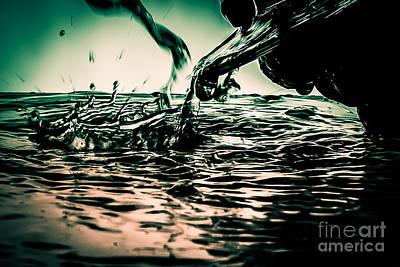 Red Wine River Splash In Split Tone Poster by JC Kirk