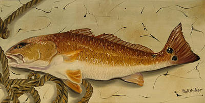 Redfish In The Boat Poster by Phyllis Beiser