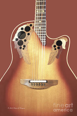 Redish-brown Guitar On Redish-brown Background Poster