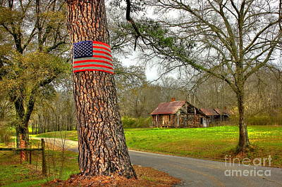 American Flag On The Redneck Flag Pole Poster by Reid Callaway