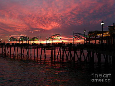 Redondo Beach Pier At Sunset Poster by Bev Conover