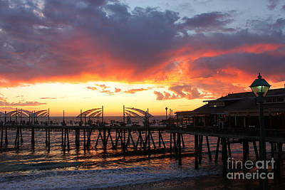 Redondo Pier Sunset Poster by Bev Conover