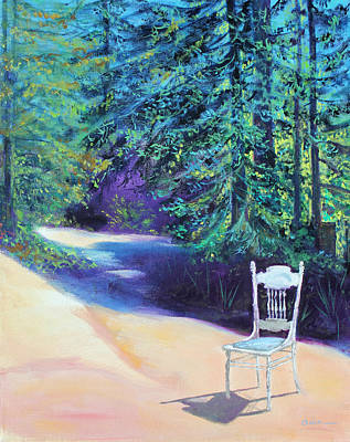 Redwood Path And White Chair Poster by Asha Carolyn Young