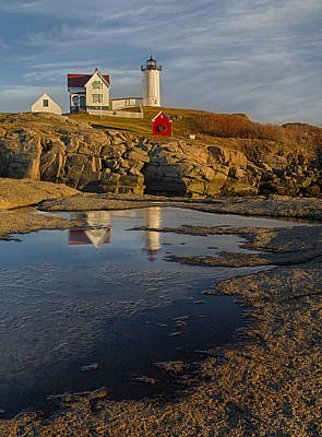 Reflecting On Nubble Lighthouse Poster