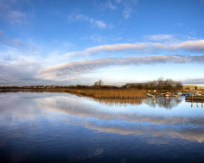 Reflecting Skies On The River Corrib In Galway Poster by Mark E Tisdale