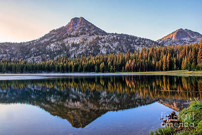 Reflection Of Gunsight Mountain Poster by Robert Bales