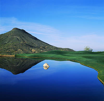 Reflection Of Mountain On Water, Desert Poster
