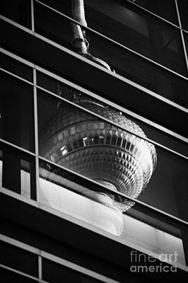 reflection of the top of the berliner fernsehturm Berlin TV tower symbol of east berlin Germany Poster by Joe Fox