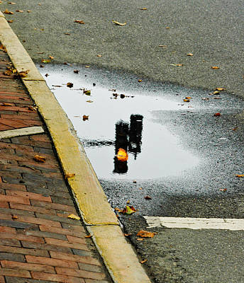 Reflection Of Traffic Light In Street Puddle Poster by Gary Slawsky