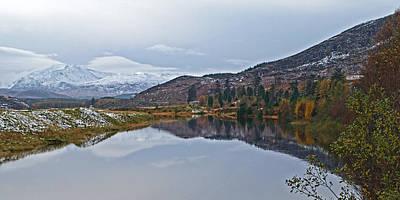 Reflections At Loch Laggan Poster by Gill Billington