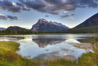 Reflections At Vermillion Lakes  Poster by Darlene Bushue