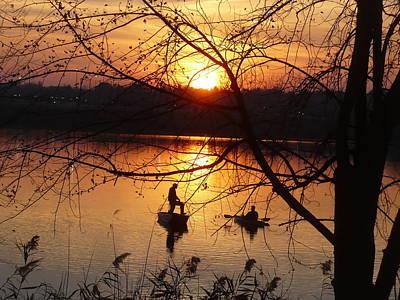 Reflections Fishermen Sunset Poster
