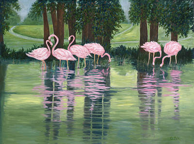 Poster featuring the painting Reflections In Pink by Karen Zuk Rosenblatt