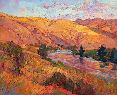 Poster featuring the painting Reflections Of August by Erin Hanson