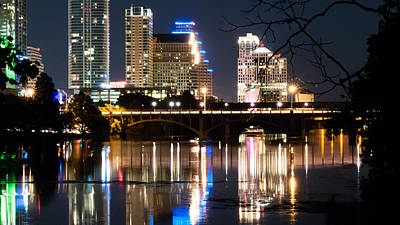 Reflections Of Austin Skyline In Lady Bird Lake At Night 04 Poster by Jeff Kauffman