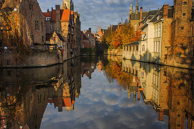Reflections Of Bruges Poster by Chris Fletcher
