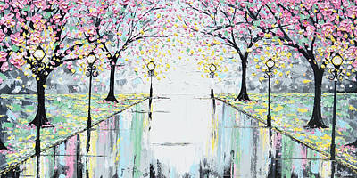 Reflections Of Springtime - Pink Cherry Trees Poster by Christine Krainock