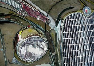 Poster featuring the painting Reflections On 1931 Alfa Romeo Milano by Anna Ruzsan