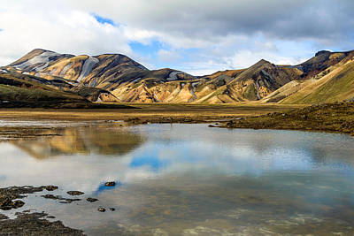 Poster featuring the photograph Reflections On Landmannalaugar by Peta Thames