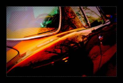 Reflective Chrome Comic Book Sports Car Poster