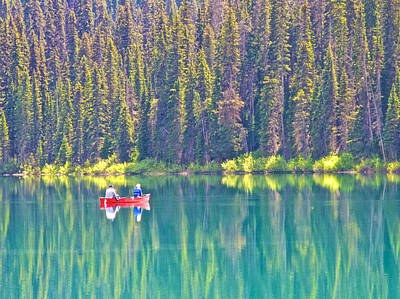 Reflective Fishing On Emerald Lake In Yoho National Park-british Columbia-canada  Poster by Ruth Hager
