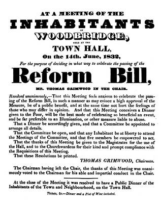 Reform Bill Poster, 1832 Poster by Granger