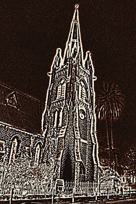 Reformed Church In Nice At Nigth Poster by Lali Kacharava
