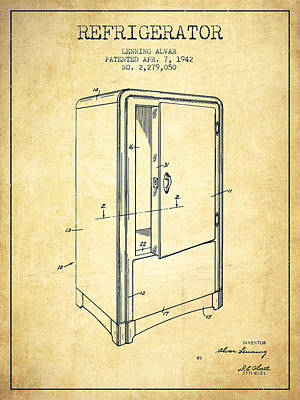 Refrigerator Patent From 1942 - Vintage Poster by Aged Pixel