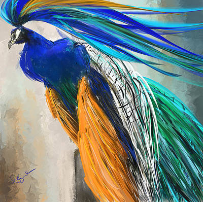 Regal Vibrancy- Peacock Paintings Poster by Lourry Legarde