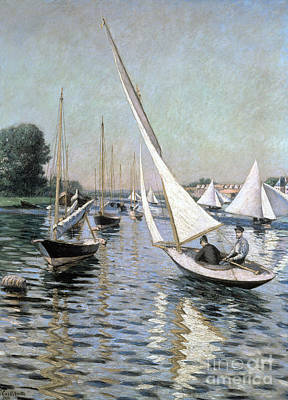 Regatta At Argenteuil Poster by Gustave Caillebotte