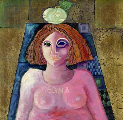 Regina, 2004 Acrylic & Metal Leaf On Canvas Poster by Laila Shawa