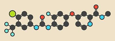 Regorafenib Cancer Drug Molecule Poster by Molekuul